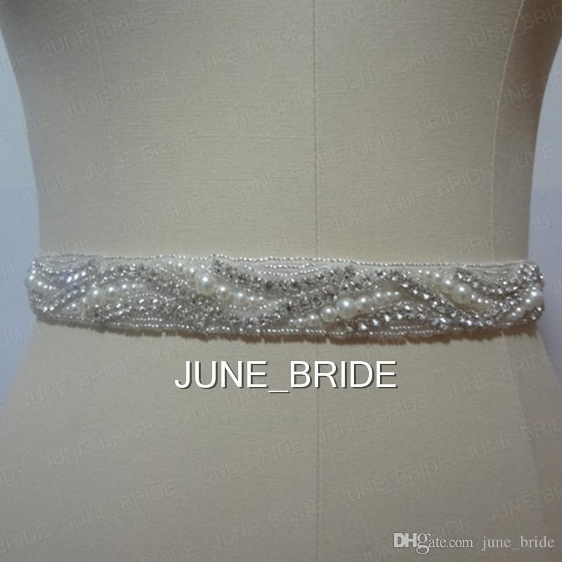 2018 pearl crystal wedding sash high quality real photo rhinestone 2018 pearl crystal wedding sash high quality real photo rhinestone bridal belt sashes ribbon tie backs 100 same as image free size from junebride solutioingenieria Gallery