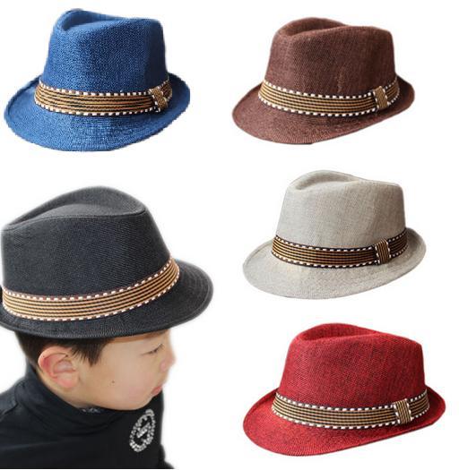2016 새로운 패션 키즈 보이 걸즈 유니섹스 페도라 모자 대비 트림 쿨 재즈 모자 트릴 비 모자 신생아 사진 Prop Trilby