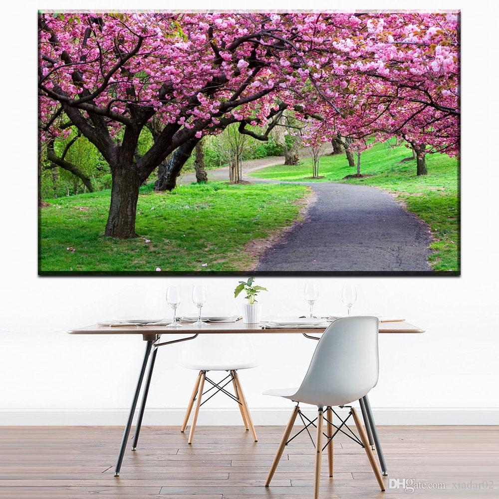 ZZ1693 beautiful japanese cherry blossom tree scenery canvas oil art painting wall pictures for livingroom bedroom decoration