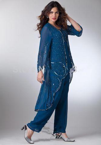 Fabulous women evening pant suits Mother Of The Bride Pant Suits Beaded Jacket For Wedding Party Wear vestido de madrinha High Low Coat