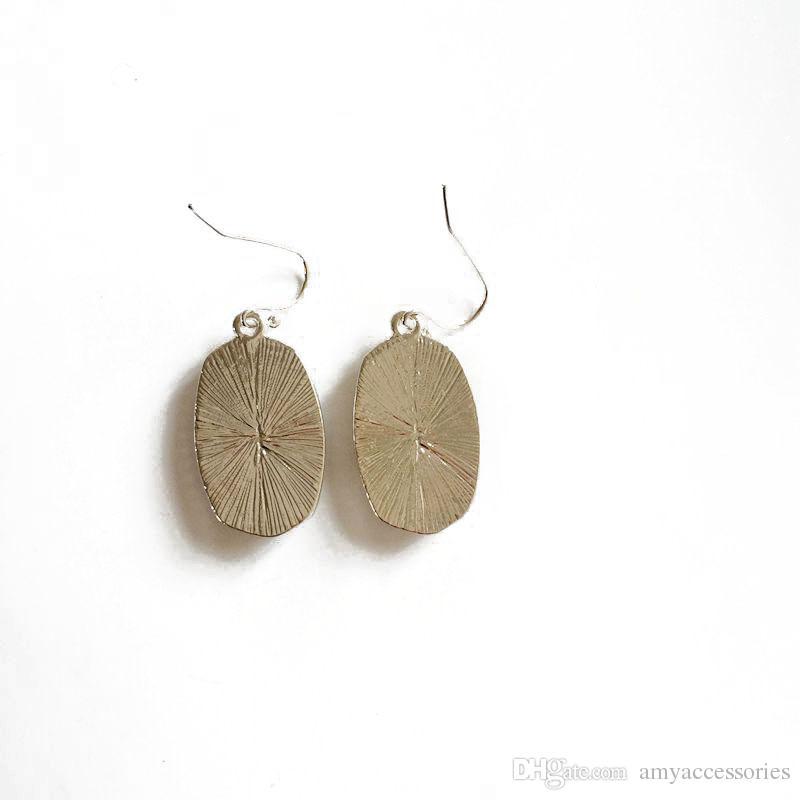 Regalo di natale di modo placcato argento Faux orecchini di goccia ovali druzy le donne in resina di quarzo ovale geometrica orecchini gioielli ciondola