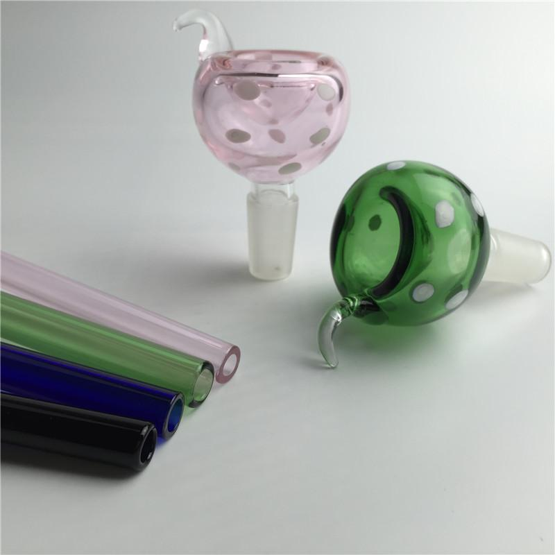 14mm 18mm bacia de vidro masculino tigela de vidro com alça de fumaça preto azul verde tigela de vidro de fumaça para a tubulação de água