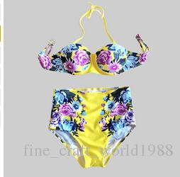 Novo 2019 Maillot De Bain Femme Sexy Cintura Alta Swimwear Plus Size Impressão Floral Do Vintage Push Up Bikini Set Mulheres Maiô S-XL