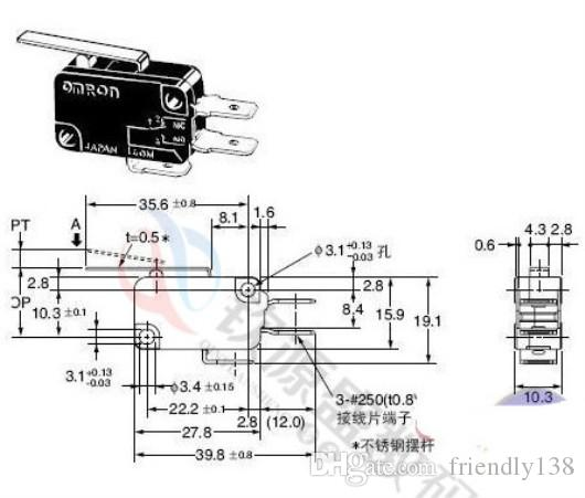 V-152-1C25 마이크로 리미트 스위치 레버 긴 힌지 / 레버 암 NO + NC 새로운 미니 순간 15A 250V 실버 포인트