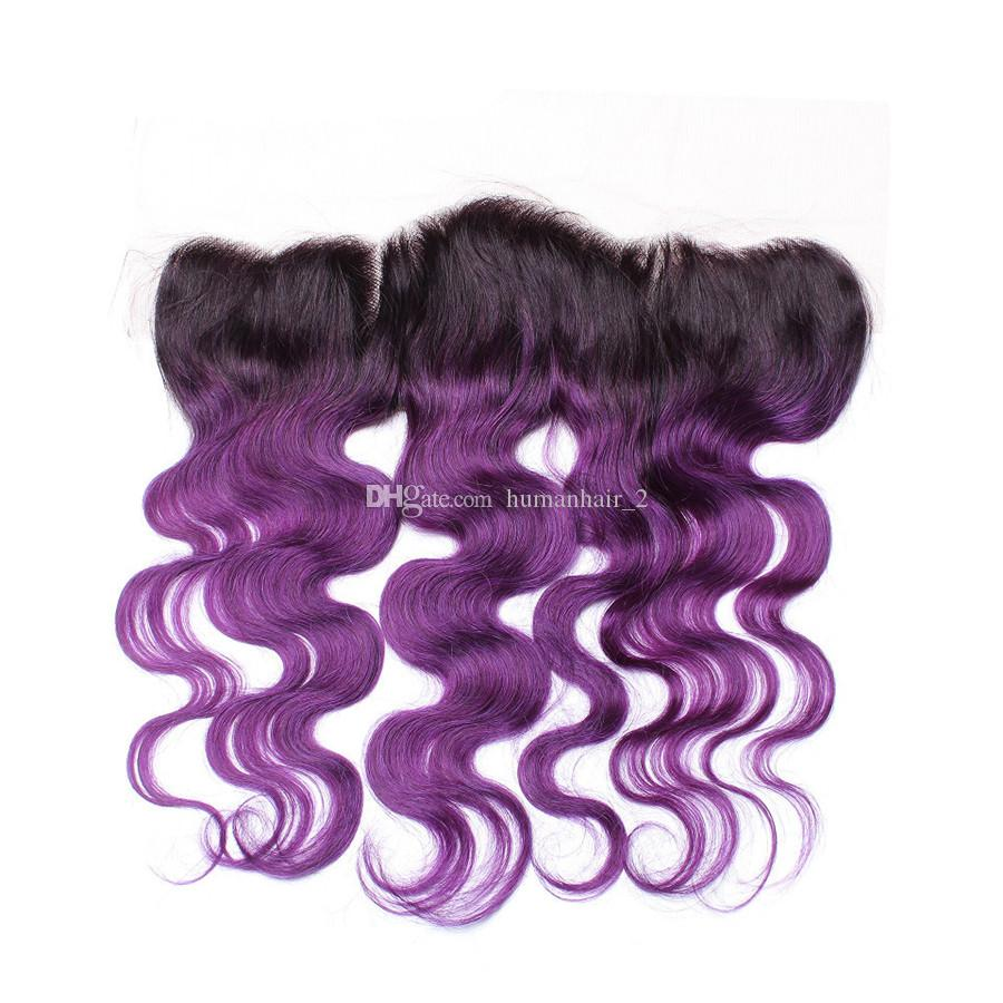 Two Tone 1b Purple Human Hair Bundles With Lace Frontal Malaysian Virgin Body Wave Hair Weaves With Lace Frontal Closure