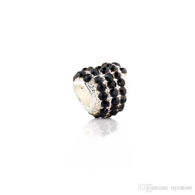 Convient Pandora Bracelets 4.5mm charmes coeur amour perles en argent sterling 925 zircone cubique charmes pour bijoux DIY