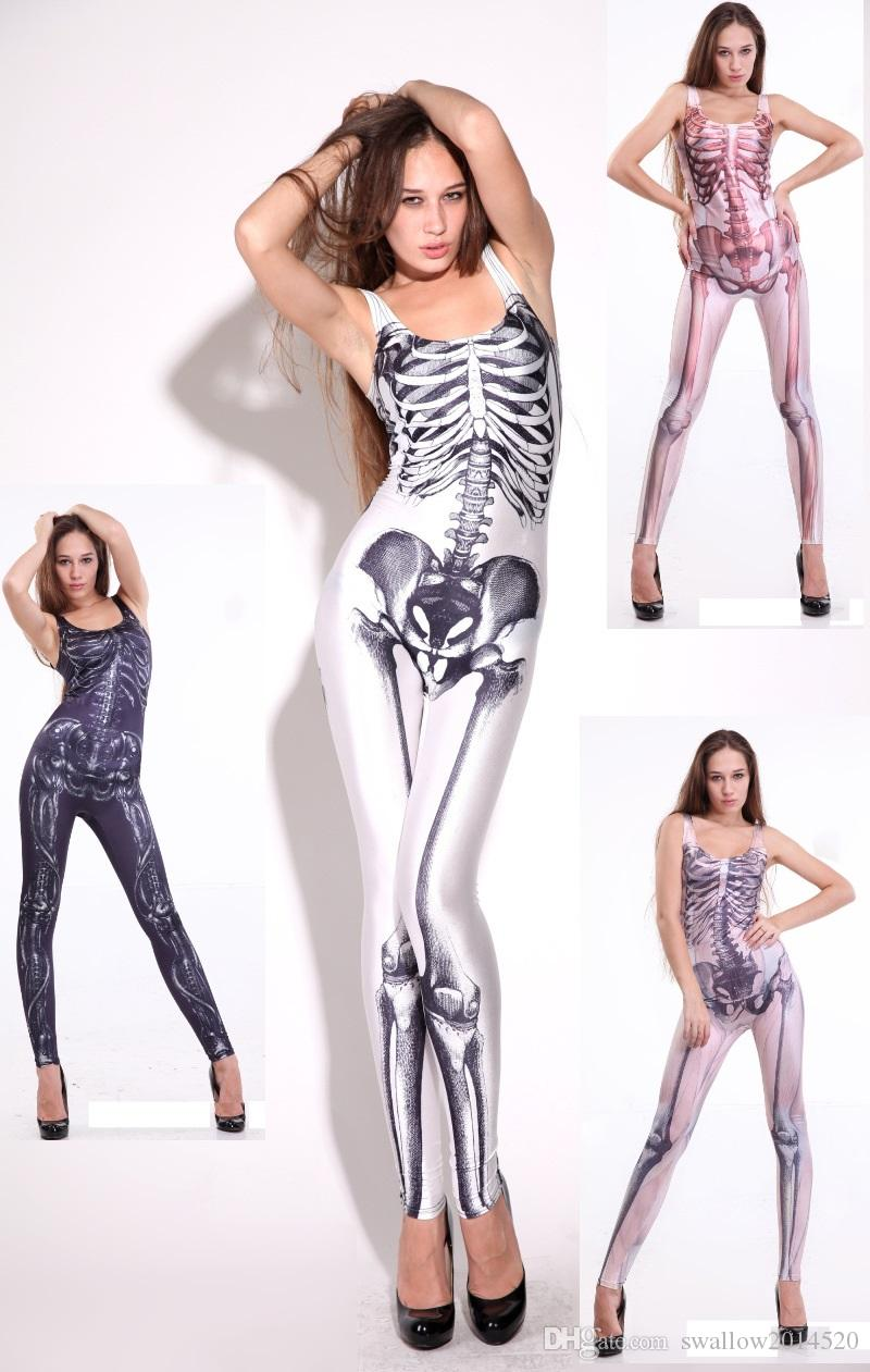 New Adult Skeleton Skull Dead Day Bone Halloween Costume For Women Female Singer Costume Dance Clothes Catsuit Jumpsuit Vest One Piece Large Group Halloween ...  sc 1 st  DHgate.com & New Adult Skeleton Skull Dead Day Bone Halloween Costume For Women ...
