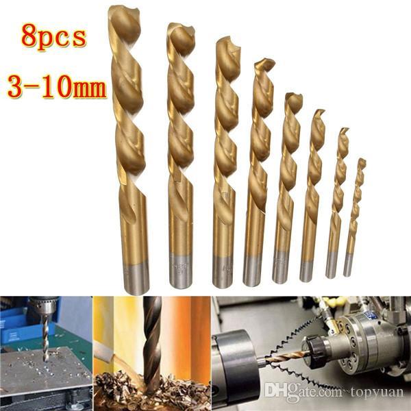 HSS punta trapano con punta in titanio rivestita 3-10mm codolo cilindrico punta elicoidale