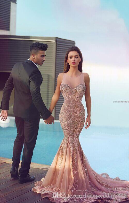 2018 최신 디자이너 아랍어 머메이드 이브닝 드레스 깎아 지른 목 스위프 기차 비즈 Applique Pageant Celebrity Gown Custom Made