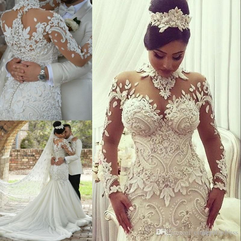 707ee78dddd 2018 Modern High Neck Sheer Long Sleeves Wedding Dresses Mermaid Applique  Beads Vintage Plus Size Wedding Gowns Nigerian Quinceanera Dresses White  Dresses ...