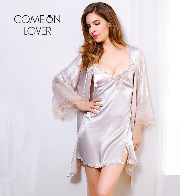 wide selection of colours and designs innovative design hot-selling real Wholesale- Comeonlover Bridesmaid Robes Wedding Ladies Faux Silk Robes For  Women Two-Piece Satin Lace Nightwear Bridesmaid Robes Wedding