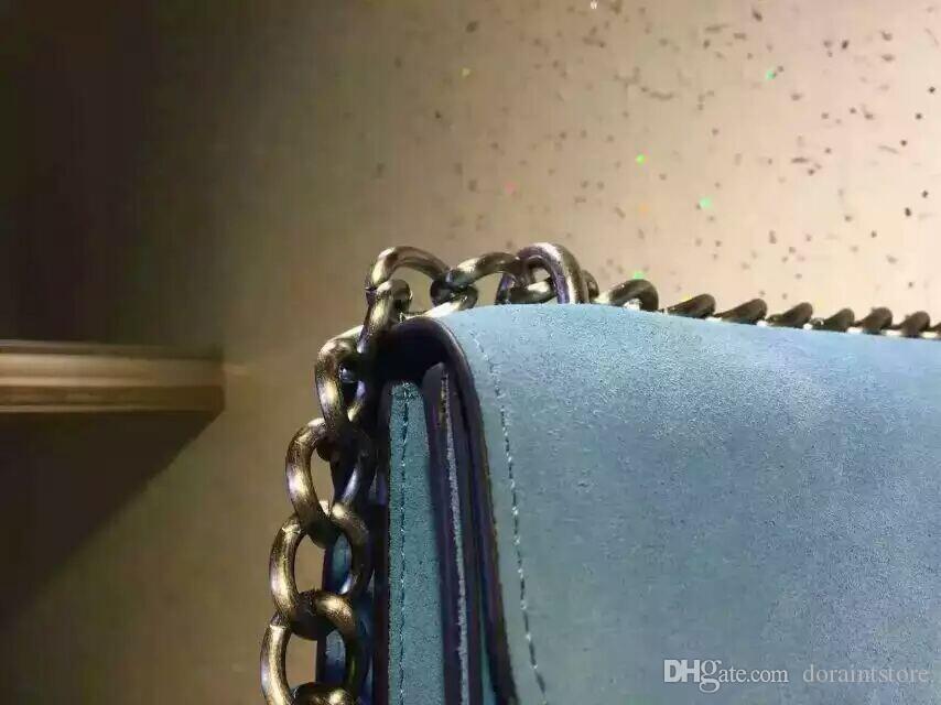 2016 neue Art und Weise Frauen-Matte Oberfläche OL Art-Handtasche Blau Umhängetasche Rückseite glänzend echtes Leder