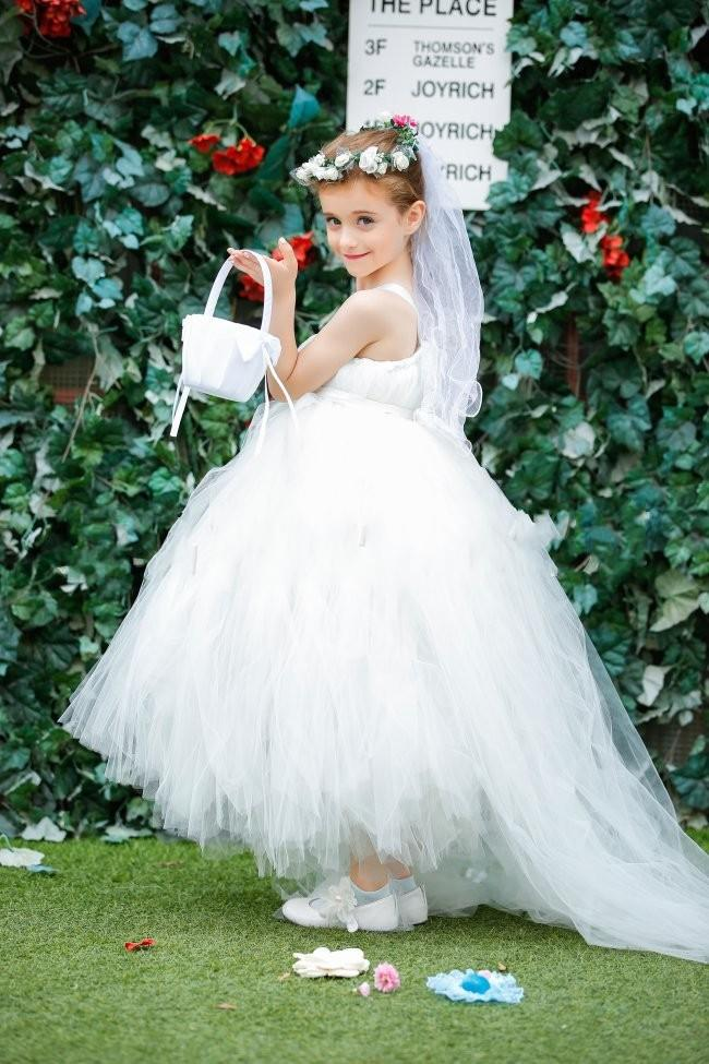 White tutu dress for flower girl