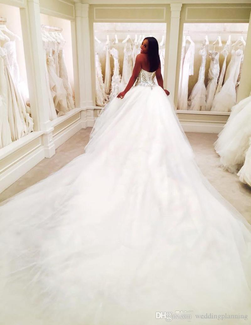2019 Dubaï Nigeria Dentelle 3 MÈTRES mariage Robes Custom Made Taille Plus ouvert retour Tulle Puffy Robes de mariée arabe Pnina Totnai robe de mariée