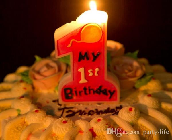 Creative one digital big candle Happy Birthday Candles Cake Candles Kids Parties Decor