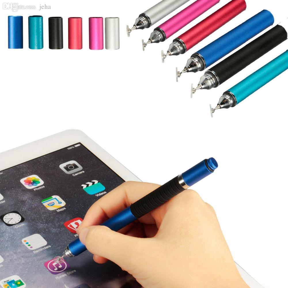 Wholesale-2016 Best Sale 2in1 Capacitive Touch Screen Stylus Ballpoint Pen For iPhone iPad  Tablet Pink Color