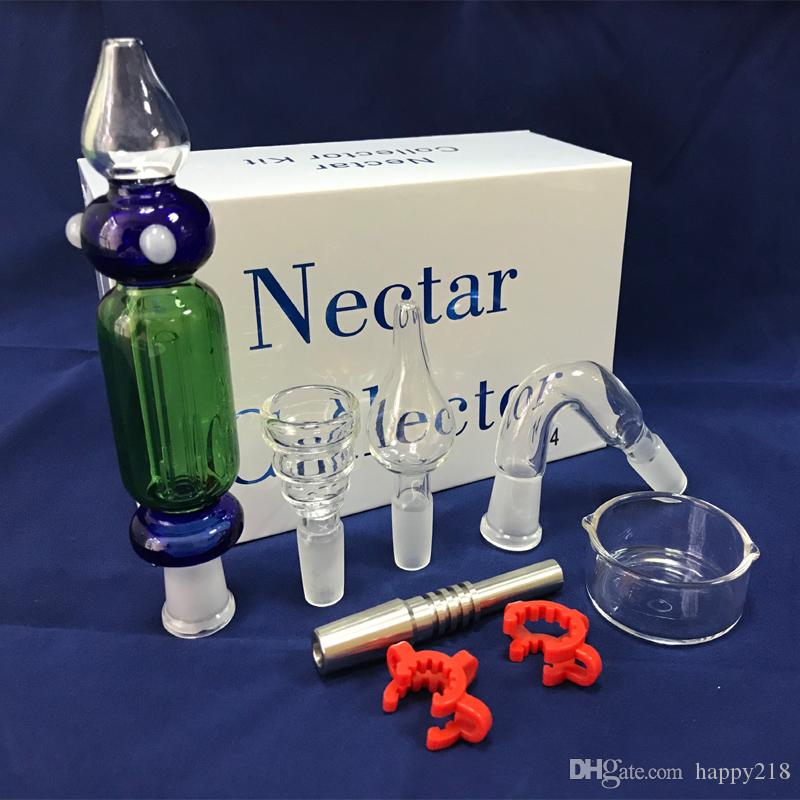 Nectar Collector kits 2.0 Glass water Pipe with plastic clip Mini Glass for Oil Rigs and Dabs DHL free to USA
