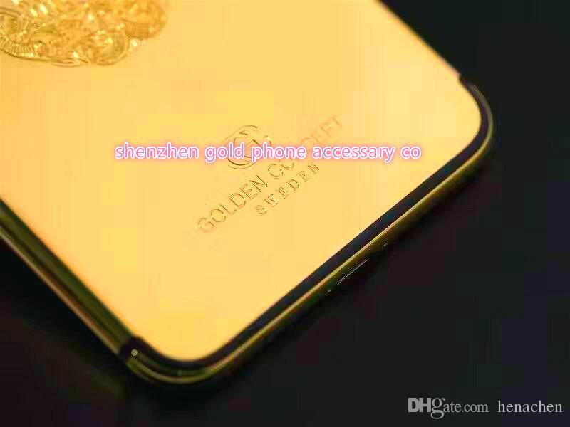 Real Gold skull Plating Back Housing Cover Skin Battery Door For iPhone 7 7+ High Quality 24K Real Gold skull design Back Housing