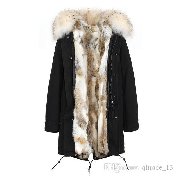 Jazzevar brand Light pink Grass rabbit fur liner long Washed shell blue demin long jackets snow parka