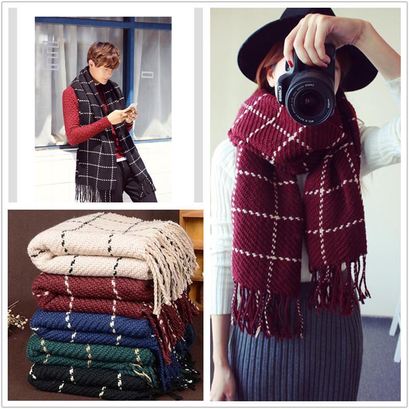 2018 neue Männer Herbst und Winter Mode warme Wolle Schals Kaschmir Plaid Muster Schal Liebhaber halten Strickwolle Schal