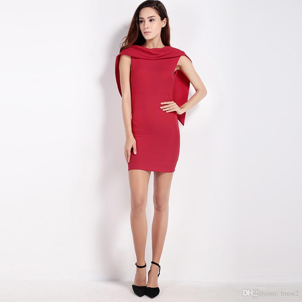 Ofis Lady Moda Kadınlar Sabit Kırmızı Kolsuz Seksi SlimVestido Balo Mini Elbise Cape BODYCON Backless elbise