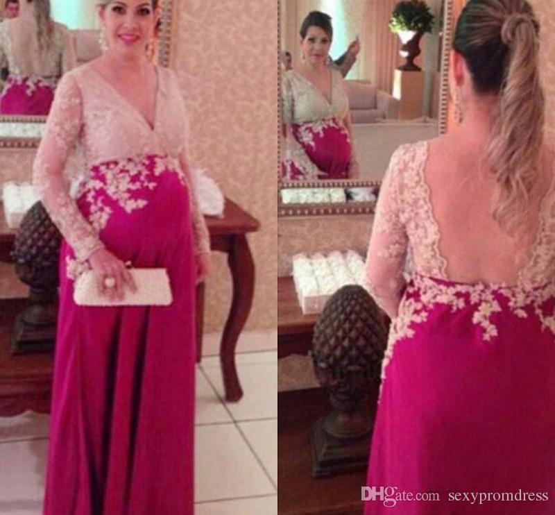 Lace Maternity Evening Dresses With Long Sleeve V Neck Backless Fushia Chiffon Women Formal Party Evening Gown Open Back Prom Dresses