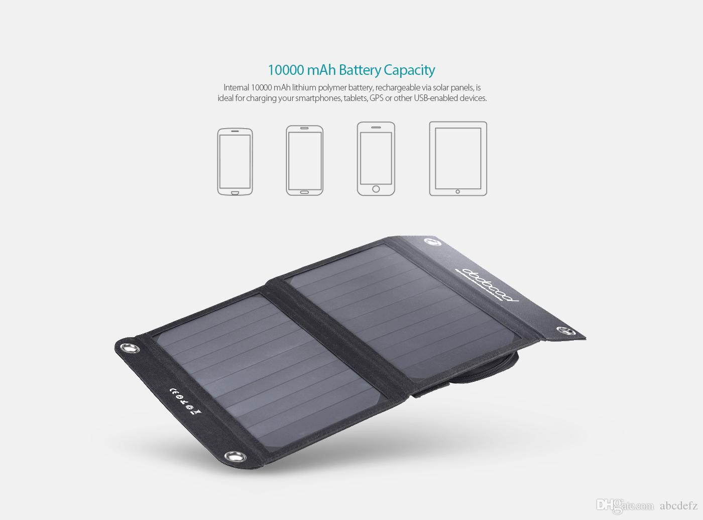 Discount Portable Foldable 12w 10000mah Dual Usb Solar Charger Power Battery Via The Mini Port On Charging Circuit Or Bank External Pack For Smartphone Tablet 5v Charged Device Black From China