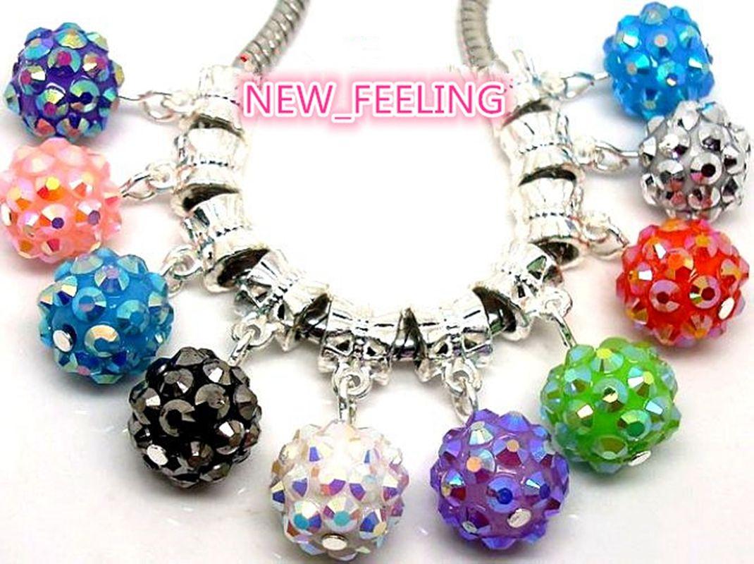 Mixed Style Crystal/Rhinestone/Resin Beads/Bells Dangle Pendants fit European Bracelet & Necklace DIY Jewelry Making