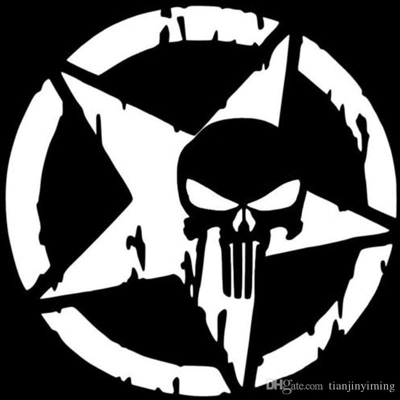 Best 13cmx13cm the punisher skull car sticker pentagram vinyl decals motorcycle accessories zt0118 under 12 97 dhgate com