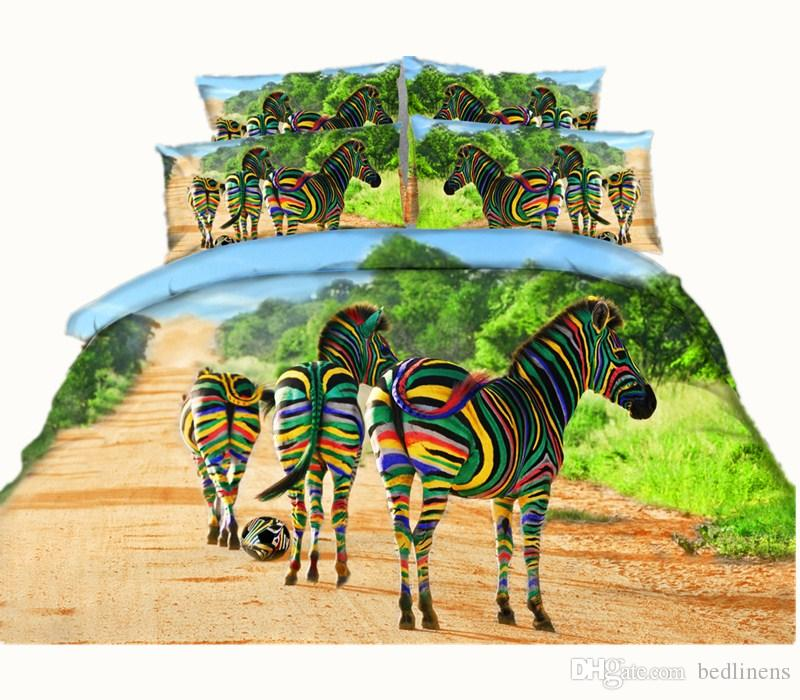 Hot Sale Fashion Colorful Striped Zebra Forest 3D Printed Bedding Set full Queen King Size Fabric Cotton Duvet Covers Pillow Shams Comforter