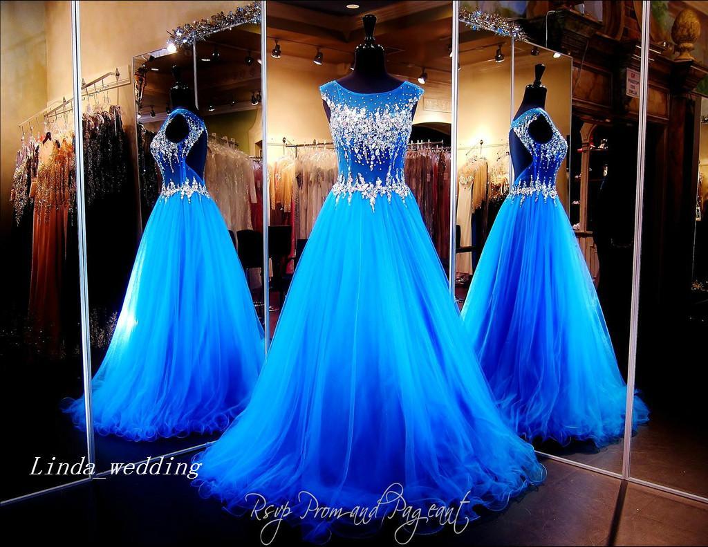 Королевское синее платье для выпускного вечера с открытой спиной Sparkly Bling Crystal длиной до пола, длинное вечернее платье
