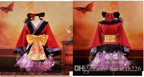 Kostenloser Versand Anime rot Vocaloid Cosplay Kleid Loro Rita Mädchen Kostüm Halloween Kostüm für Frauen für Party für Weihnachten