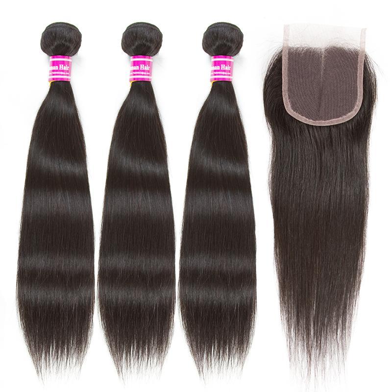2018 sıcak satış brezilyalı bakire saç 3 demetleri vücut dalga orta ile orta kısmı bölüm 4x4 dantel kapatma İnsan saç örgü 10-26 inç