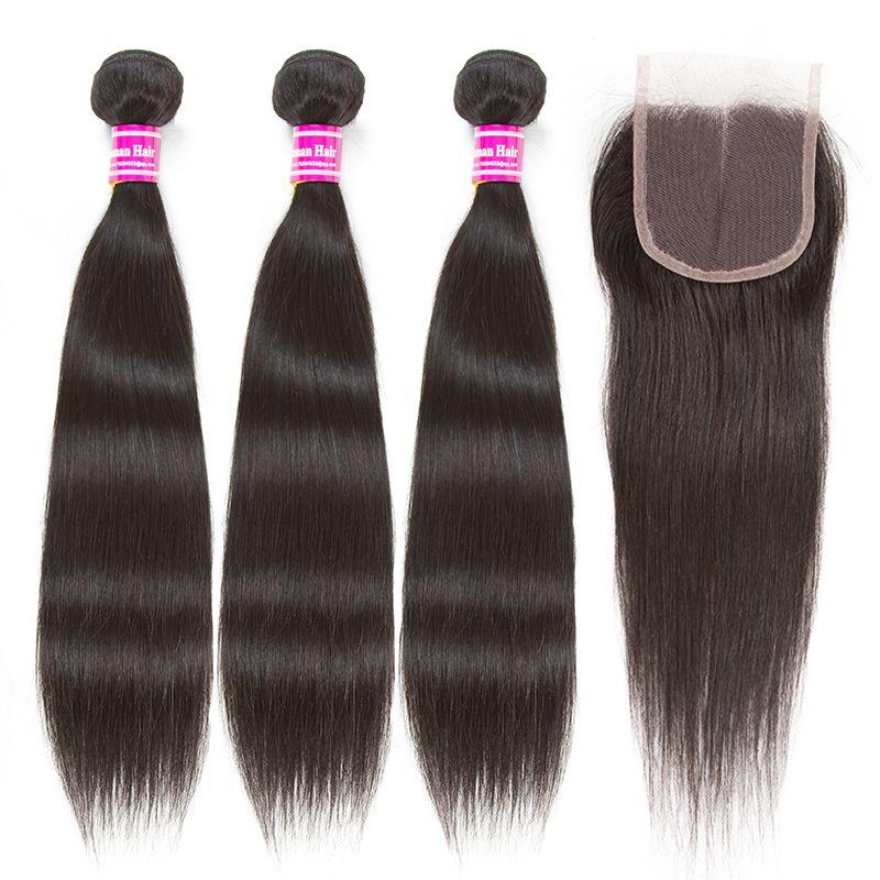 2018 wholesale brazilian virgin hair 4x4 lace closure straight body wave weave 3bundles with 4x4 lace closure human hair extension