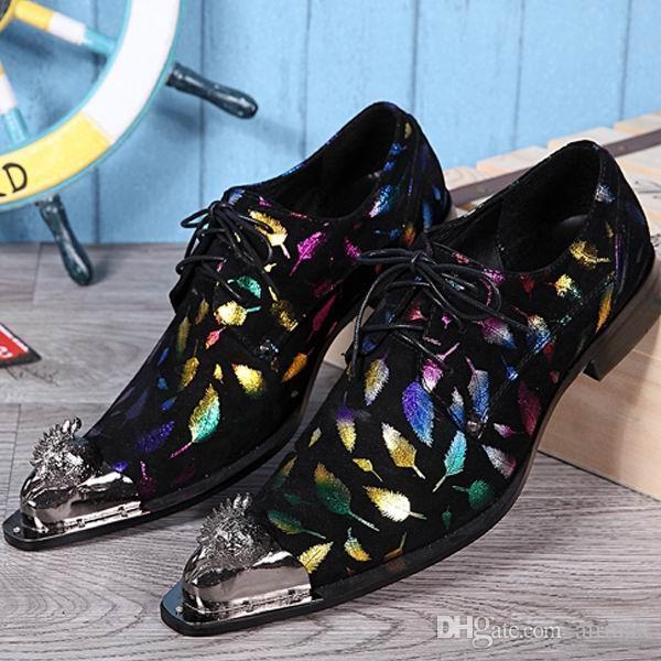Persönlichkeit Männer Druckmuster Freizeit Lederschuhe Mode Designer Metall Zehe Lace Up Derby Schuhe Mann Party Spielen Schuhe