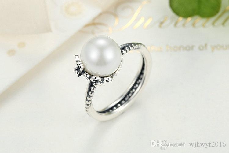 2017 Summer New 925 Sterling Silver Floral Ring with White Freshwater Cultured Pearl CZ & Black Enamel Fits European Jewelry BF377