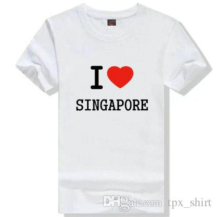 I Love Singapore T Shirt Cool Word Short Sleeve Gown Street Tees ...