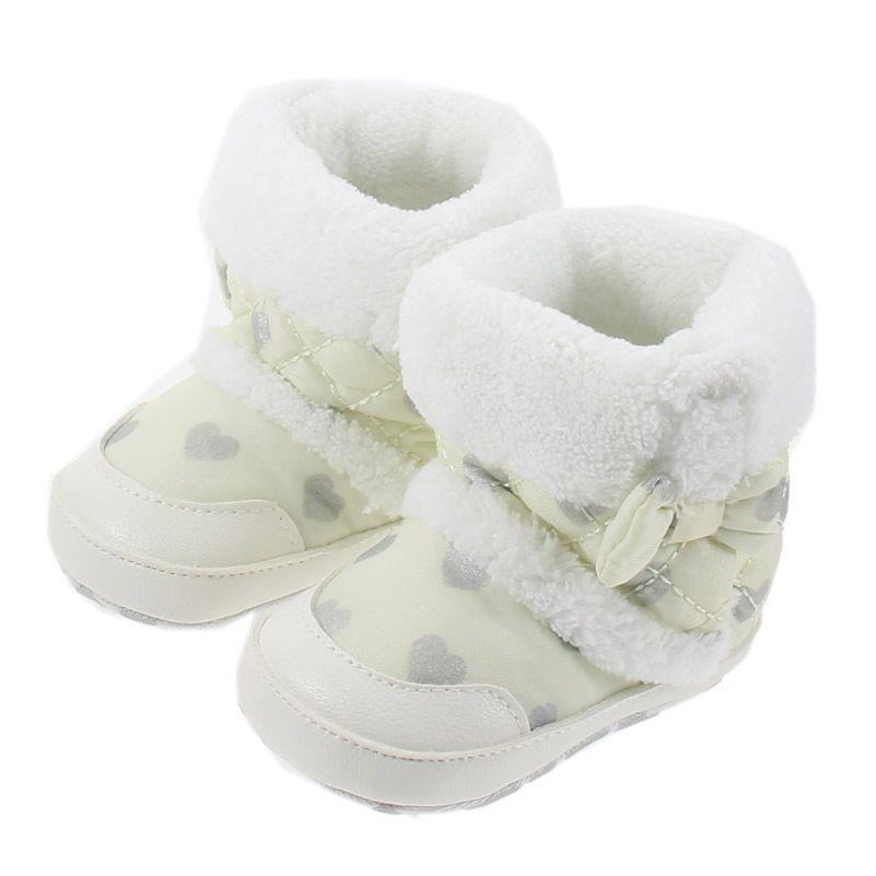 Tejer Bowknot hecho a mano de lana Botas de nieve para niña Niño Anti-silp Prewalker Botines Zapatos de bebé 0-18 meses