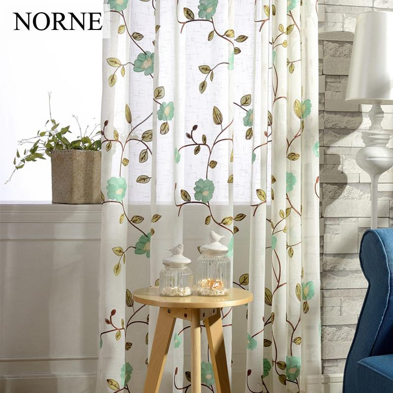 NORNE Embroidered Floral Faux Linen Style Semi Sheer Voile Curtains Window Curtain Drapes Treatment For Living Room Bedroom Door
