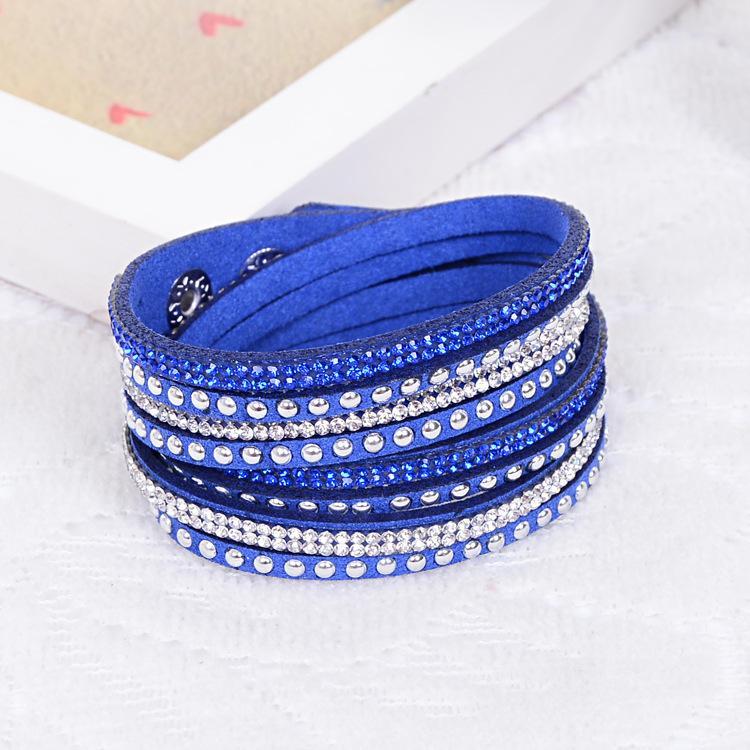 Mode multicouche wrap bracelet strass slake luxe cuir bracelets avec des cristaux mousseux bracelet femmes cadeaux de noël