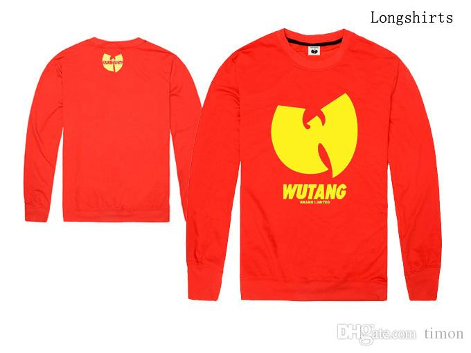 Camisetas de hombre WU TANG camisa de manga larga Primavera Otoño ropa de deporte casual Tops Tees camiseta de cuello ola de lana