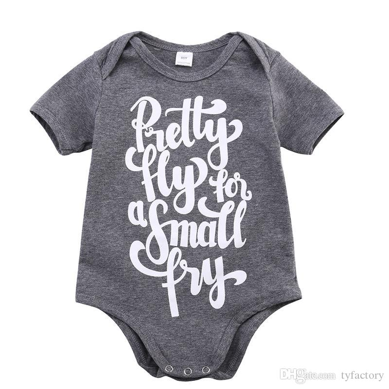 Cotton Newborn Baby Boys Girls Bodysuit grey kids boy girl Romper high quality children pretty fly letter print Jumpsuit Clothes top Outfits