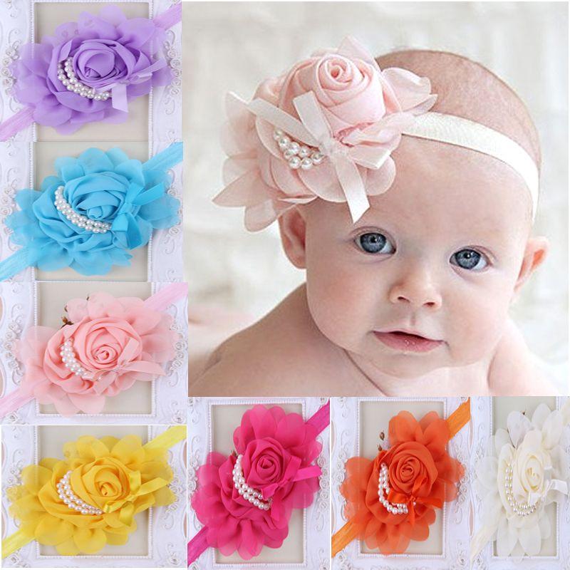 New Baby Kids Lovely Rose Pearls Headband Lace Chiffon Flower Headbands  Elastic Hair Band Girls Pretty Headwear Pearl Hair Accessories Little Black  Girl ... eaafcb51c0fb