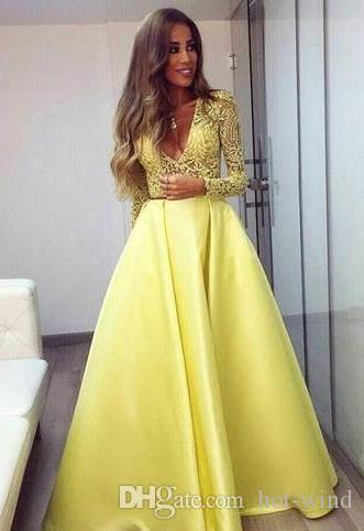 Elegante Giallo Dubai Abaya lunghe maniche degli abiti di sera Immergendo scollo a V abiti di pizzo Abito da sera abiti da Zuhair Murad partito di promenade di BA3130