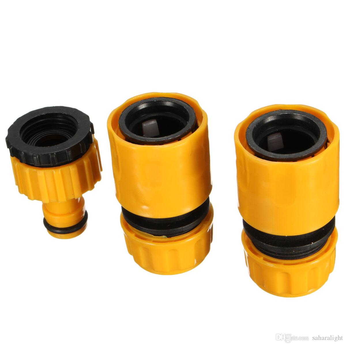 "2016 New Useful 1/2"" 3/4'' Hose Pipe Fitting Set Quick Yellow Water Connector Adaptor Garden Lawn Tap"
