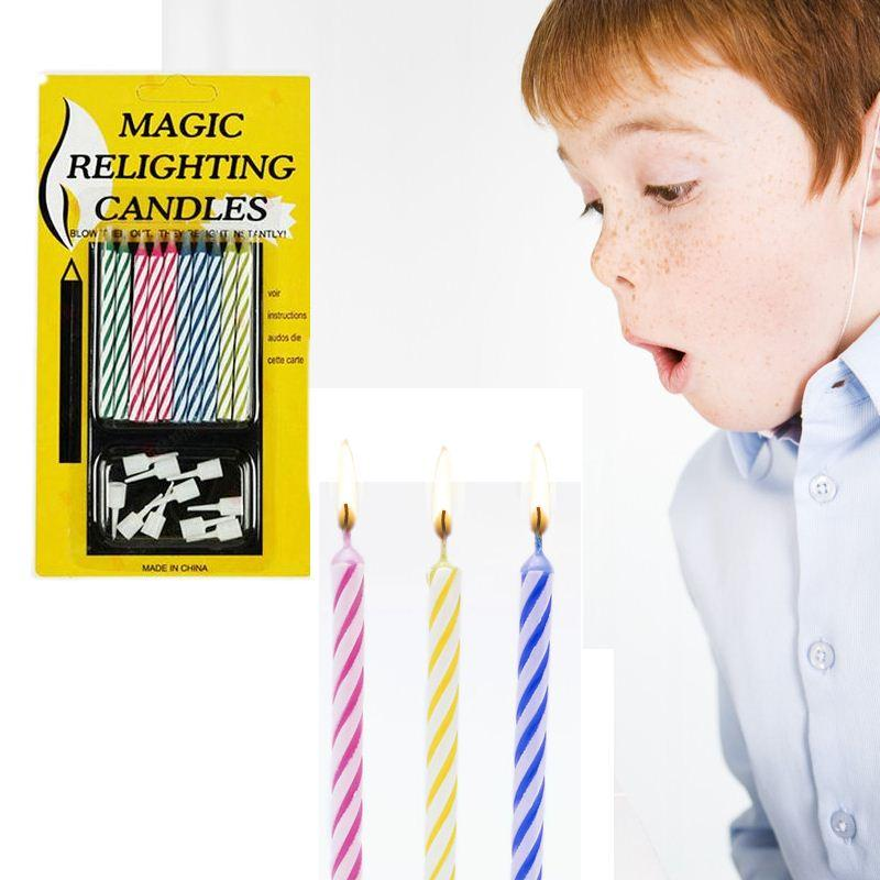 1Bag Birthday Cake Party Not Blowing Out Relighting Candle Magic Trick Prank Gag Joke Toys Some Tricks For Kids Houdini From