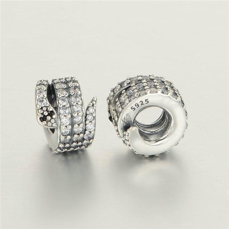 5 pezzi / lotto Snake Charms Perline Authentic Original S925 Sterling Silver Adatto stile FAI DA TE 791539CZ H8