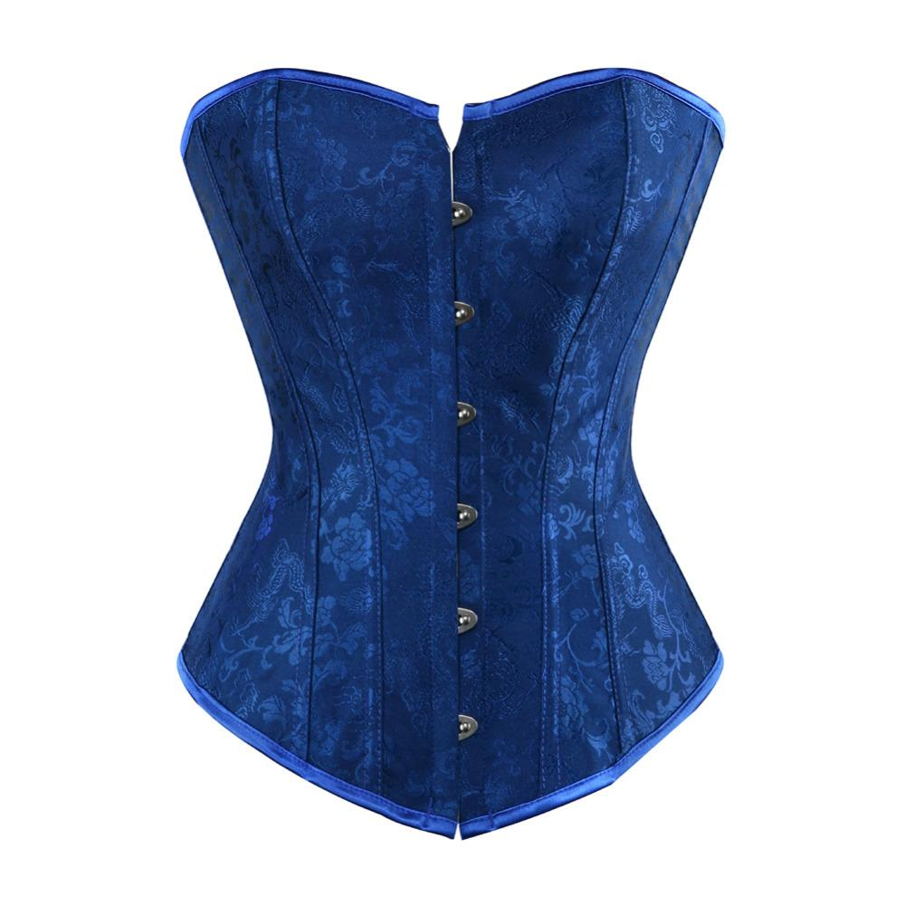 2b9ba502b7 Women s Sexy Lace Up Boned Corset Floral Jacquard Overbust Lingerie Waist  Trainer Bustier Top Plus Size S-2XL Corset Lingerie Bustier Online with ...