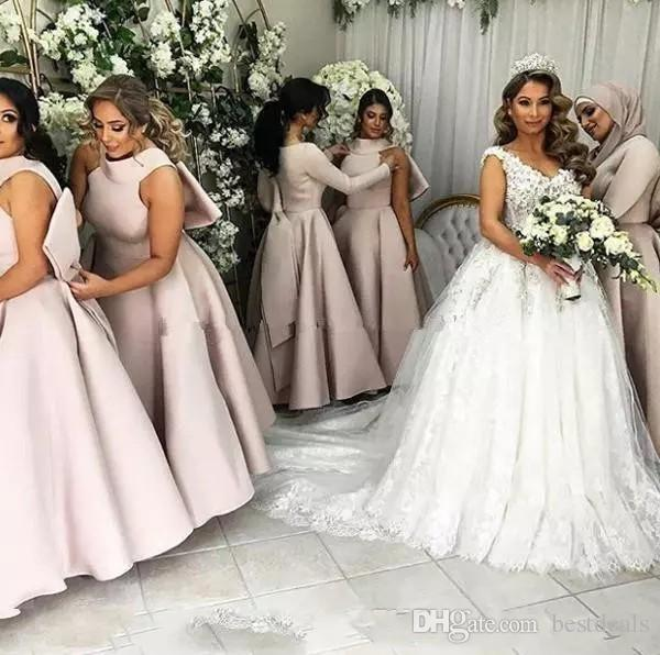 Light Purple Puffy Big Bow Bridesmaid Dresses Muslim Arabic Women Formal Gowns plus size wedding party dress