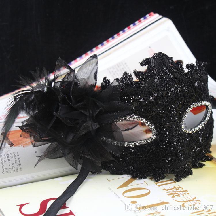 .Nouveau exquis dentelle strass masque en cuir mascarade Halloween Party fleur princesse masque pour Dame violet rouge noir or rose argent blanc